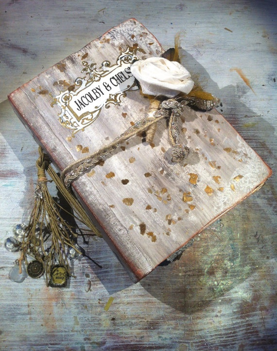 Rustic French Barn Fairytale Literary Theme Wedding Photo Album Scrapbook Guest Book With Silk Boutonniere