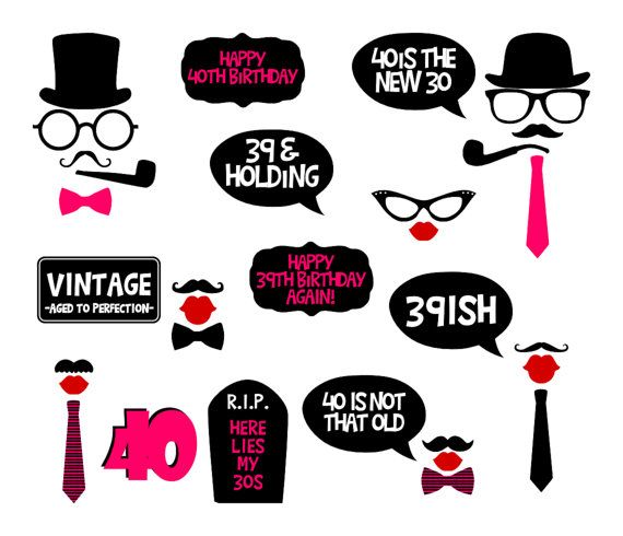 40th Birthday Party Printable Photo Booth Props - Pink - Glasses, Hats, Ties, Lips, Mustaches, Speech Balloons, Banners - INSTANT DOWNLOAD