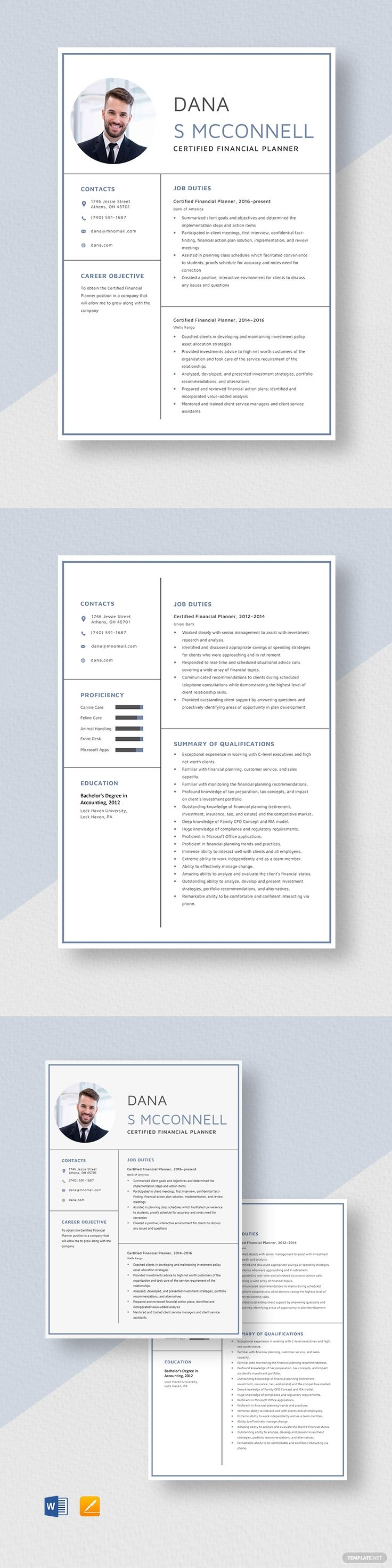 Certified Financial Planner Resume in 2020 Resume
