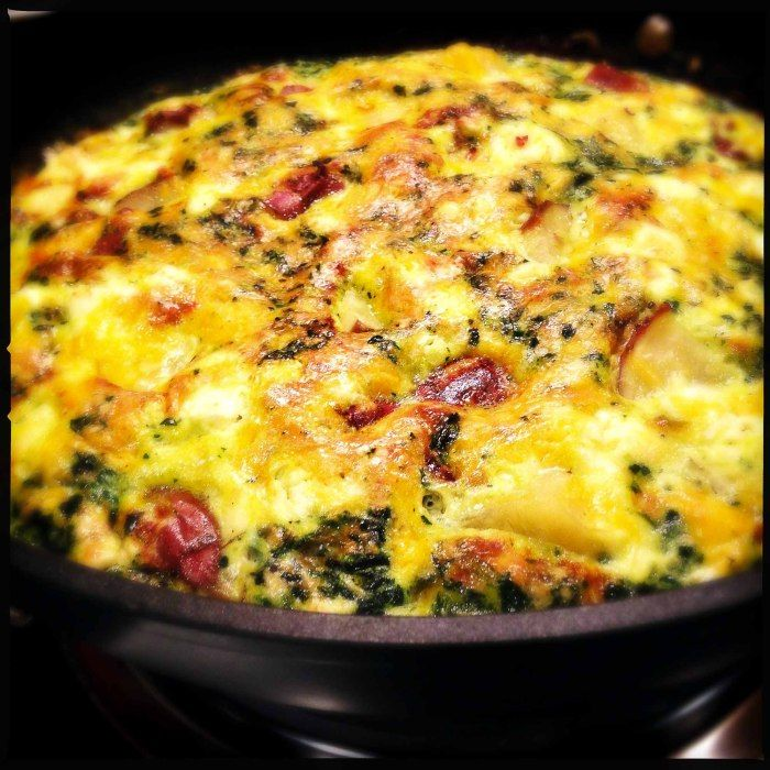 A delicious sweet potato and spinach fritatta recipe from Jamie Oliver