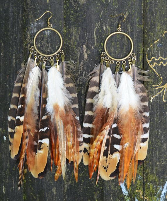 Feather Earrings  Natural by Njuu on Etsy, $27.00