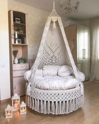Macrame Hanging Chair, Macrame Design, Macrame Projects, Macrame Knots, Diy Chair, Home Decor Inspiration, Decor Ideas, Bassinet, Relax