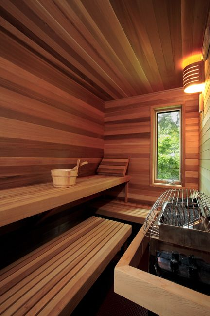 Sauna with alternating wood tones.