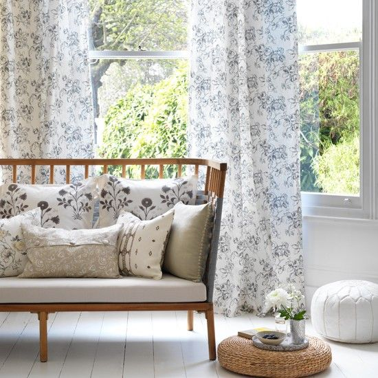 Monochrome floral living room
