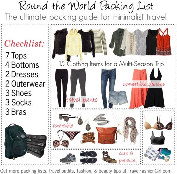 The Ultimate Round the World Travel Packing List #TravelFashionGirl how to pack many climates in one bag!