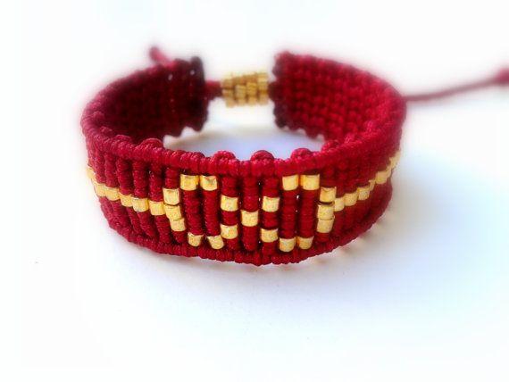 Infinite Macrame Bracelet ~ Bordeaux Satin Cord with Gold Beads ~ Micromacrame ~ HandmadebyMammyKnows #handmade #etsyretwt