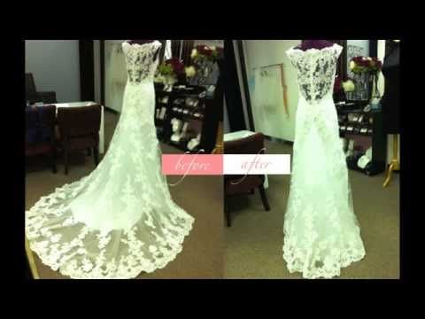 How to bustle a dress with a lace overlay... veerrry interesting