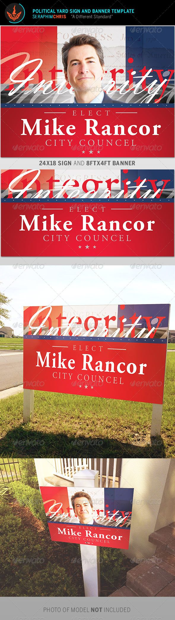 Political Yard Sign and Banner Template - Signage Print Templates