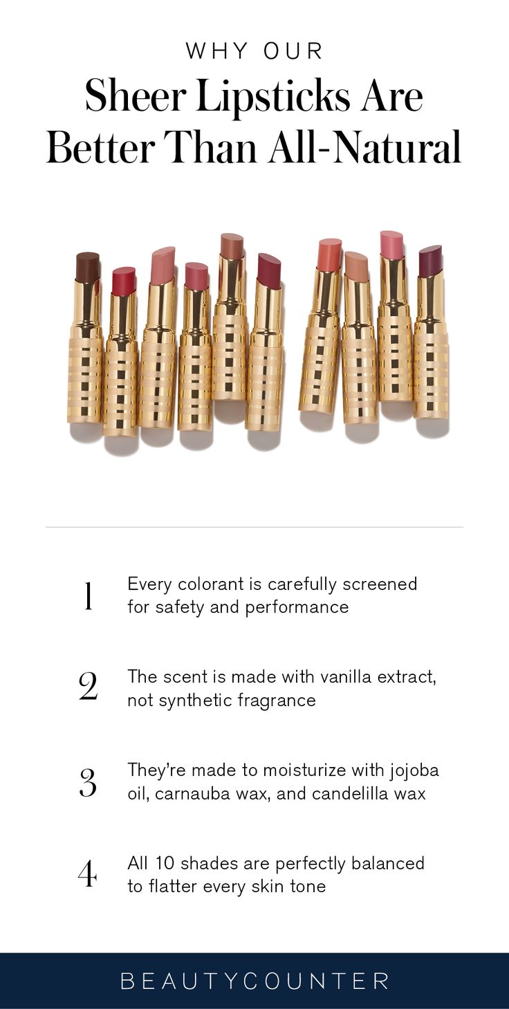 In the world of color cosmetics, all-natural lipstick is not always synonymous with non-toxic, and loopholes in federal law have resulted in misleading labels. With all of our formulas, we always strive for transparency and never settle for anything but the best in safety and performance. Here's what you need to know about our Sheer Lipstick color lineup.
