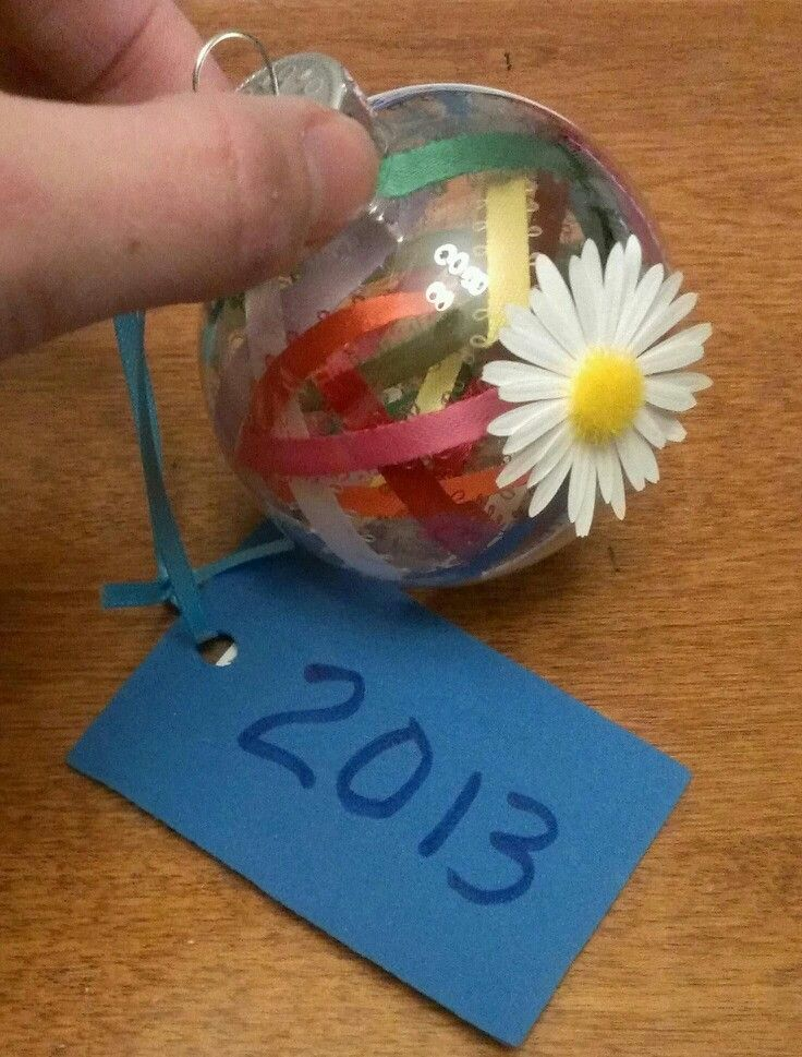Daisy Girl Scout ornament: plastic ornament filled with ribbons representing the 'petals', daisy applique, and tag with year on one side, school photo on the other side...the girls loved making these!