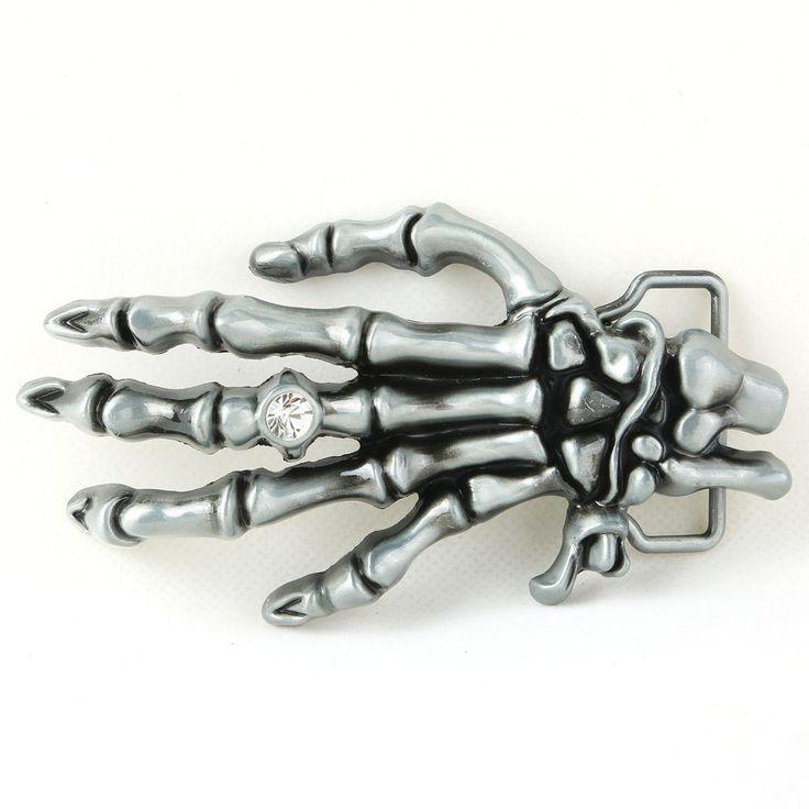 Men Cool Western Skull Skeleton Hand Rhineston Classic Metal Belt Buckle  #Fashion #Classic