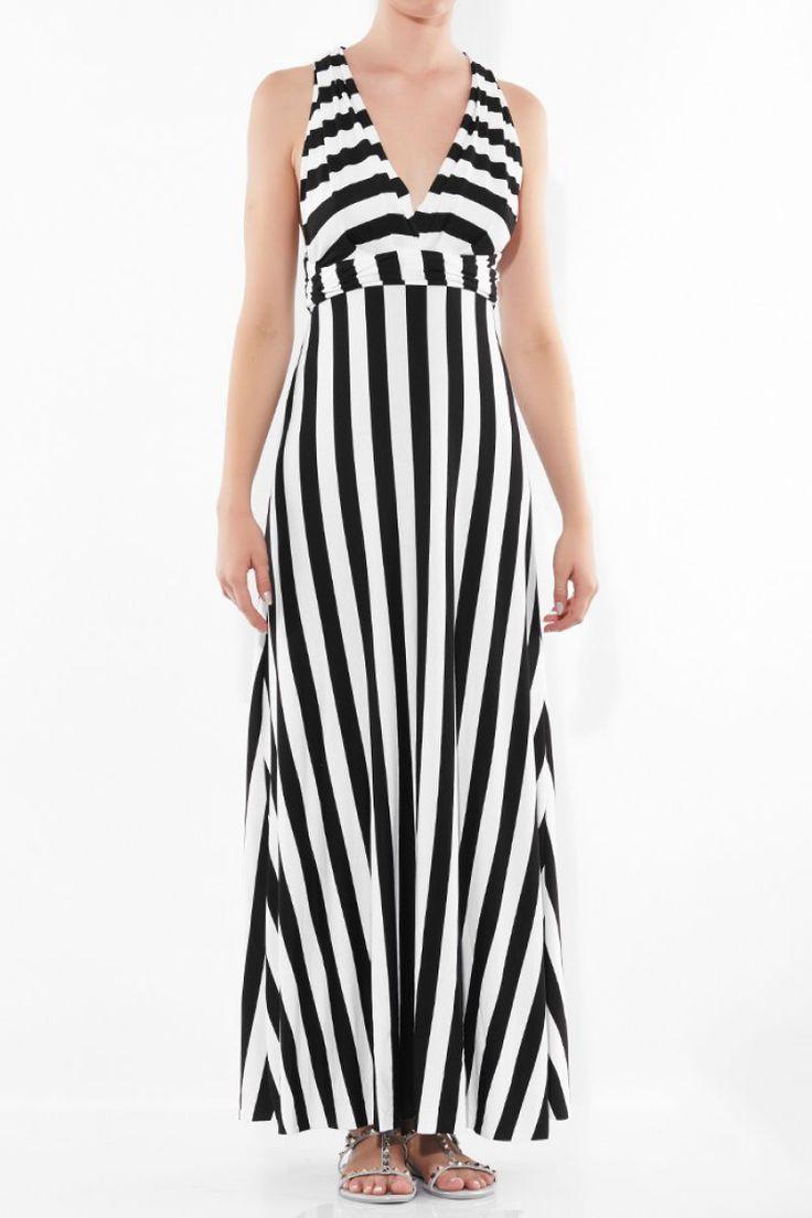 Εξώπλατο ριγέ μάξι φόρεμα.Ύψος μοντέλου: 1,78m95% Viscose 5% Elastane