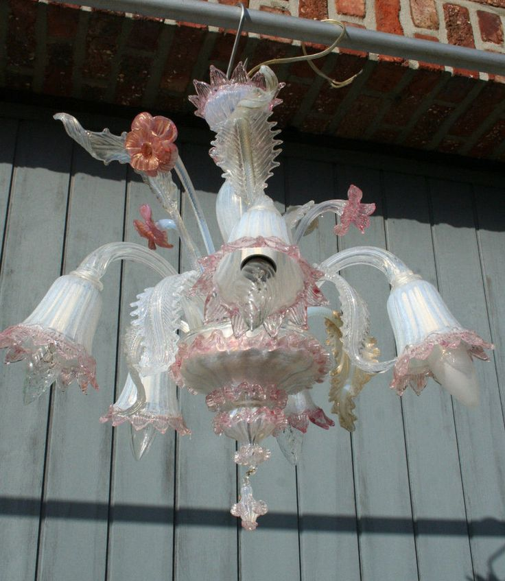 Mid Century Venetian Murano Hand N Glass Chandelier 5 Arms Marked 1970 S Ebay