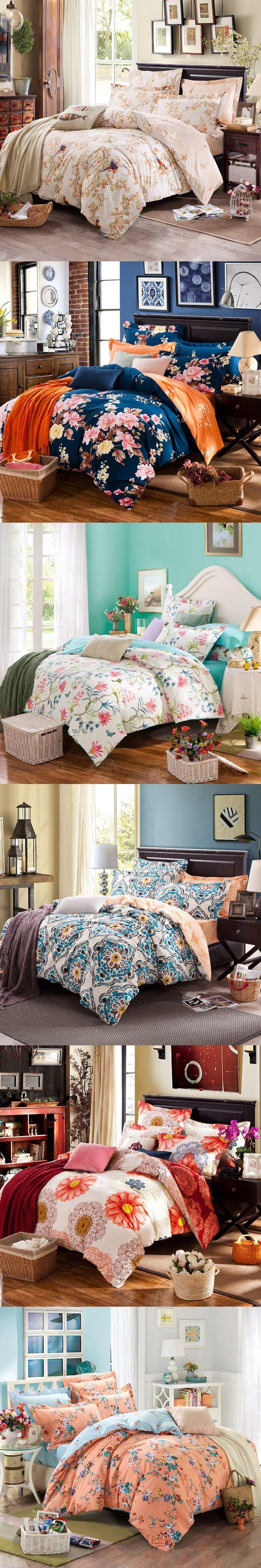 20 Colors 100% cotton Super Soft Twin Full Queen King size Bedding set Flowers Plaid Bed sheet set Duvet cover set Pillow shams
