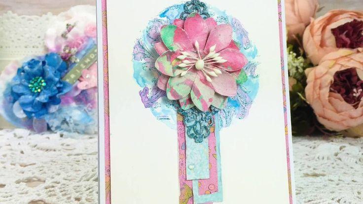 Cardmaking tutorial - stamping + watercolour background