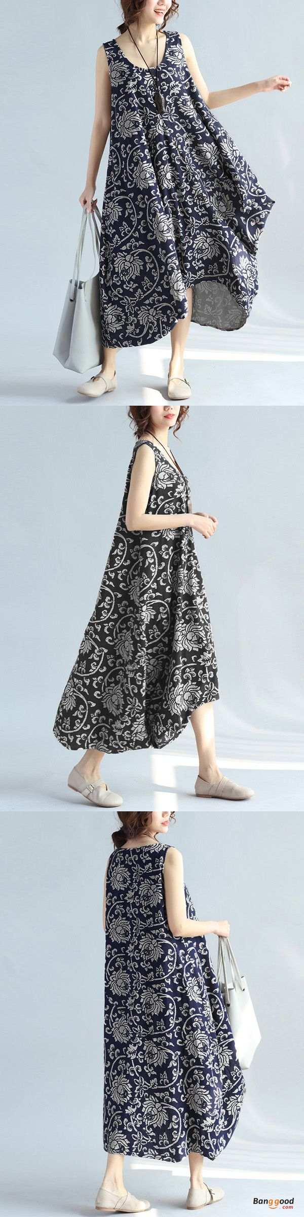 US$17.39+Free shipping. Size: L~5XL. Color: Navy, Black. Home or out, love this vintage and elegant summer dress. Women Dresses, Long Dresses, Dresses Casual, Dresses for Teens, Summer Dresses, Summer Outfits, Retro Fashion.