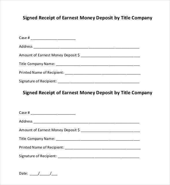 Earnest Money Letter Best Of 31 Money Receipt Templates Doc Pdf
