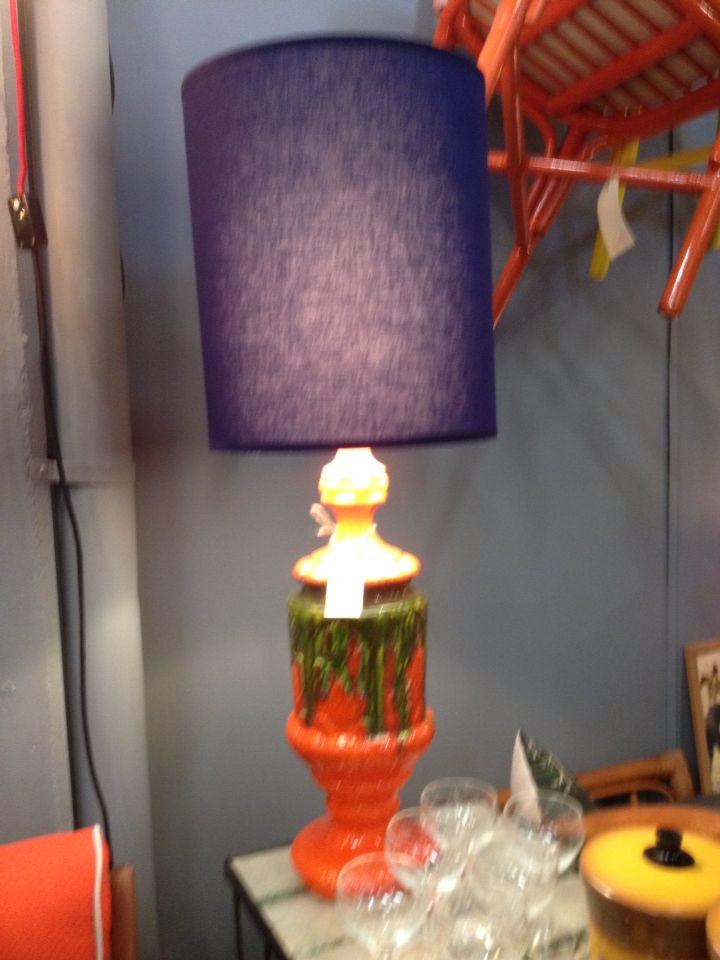 Retro italian lamp (orange and navy). New shade.