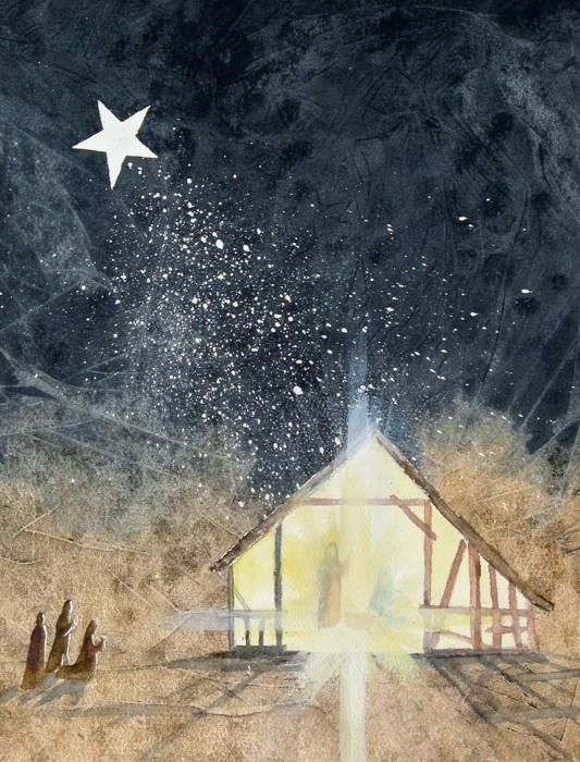The First Christmas Painting by Jackie Mueller-Jones - The First Christmas Fine Art Prints and Posters for Sale