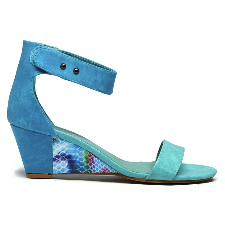 Binny by I Love Billy. #ilovebilly #cinorishoes #cinori #midheel #comfortableshoes #heels #anklestrap #wedge #Under100 #blue #print #pretty #races #affordable #fashion