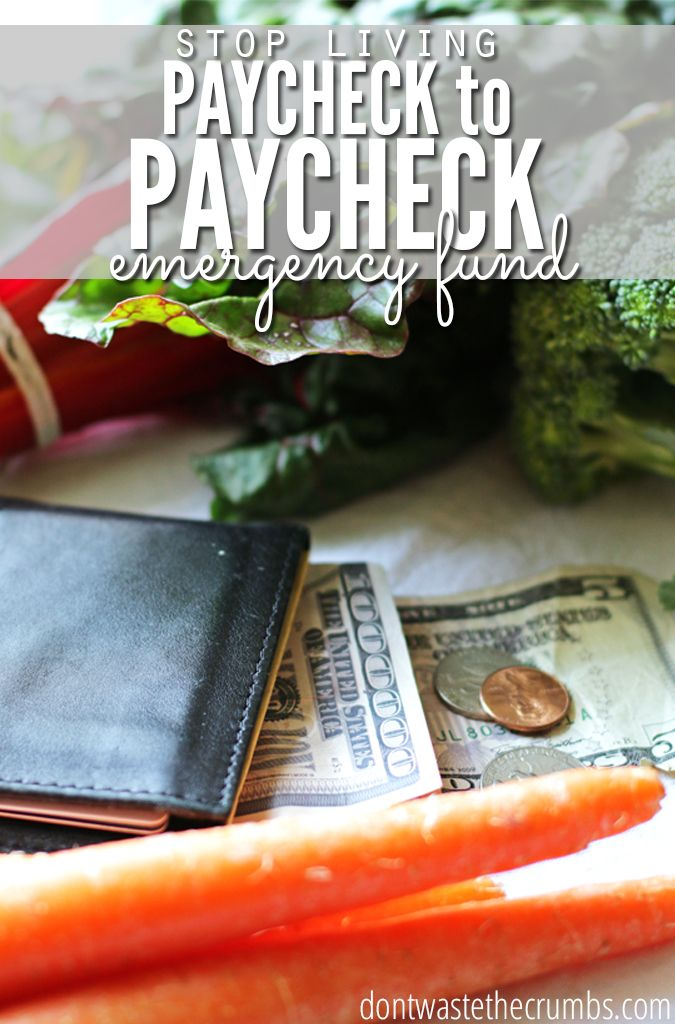 Basic budget tip: Stop living paycheck to paycheck by creating an emergency fund! Regardless of how much extra you have each month, this should be high on your priority list for saving money in the long run. Real tips from real people who made it work! :: DontWastetheCrumbs.com