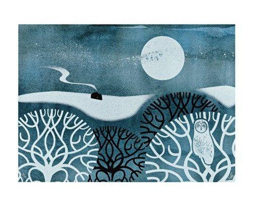 Owl in Winter Screenprint by Sally Elford