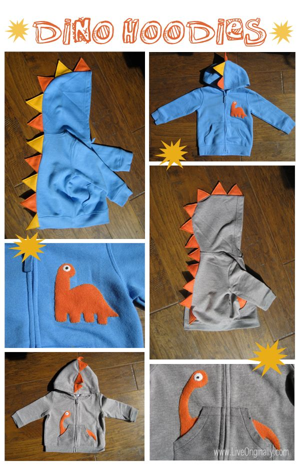 Dino hoodie tutorial - if we have a boy I totally think this would be worth a try! I love the long neck dino coming out of the pockets!