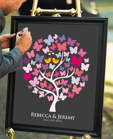 Personalized Wedding Guest Book Alternative Butterfly Tree Printable Signatures Custom Guestbook Graphic Design Poster Love Birds Decor art