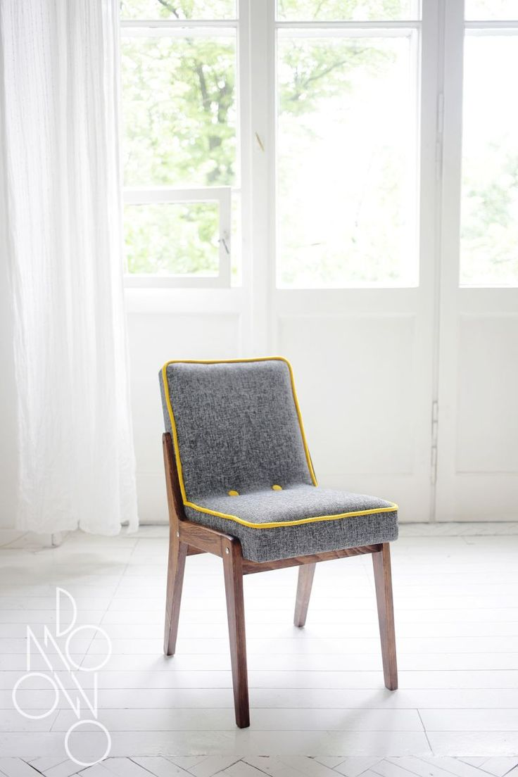 Chair Seats With Era. After A Complete Renovation Carpentry   Upholstery.  Upholstery: Heather Gray With Yellow Rib Trim.
