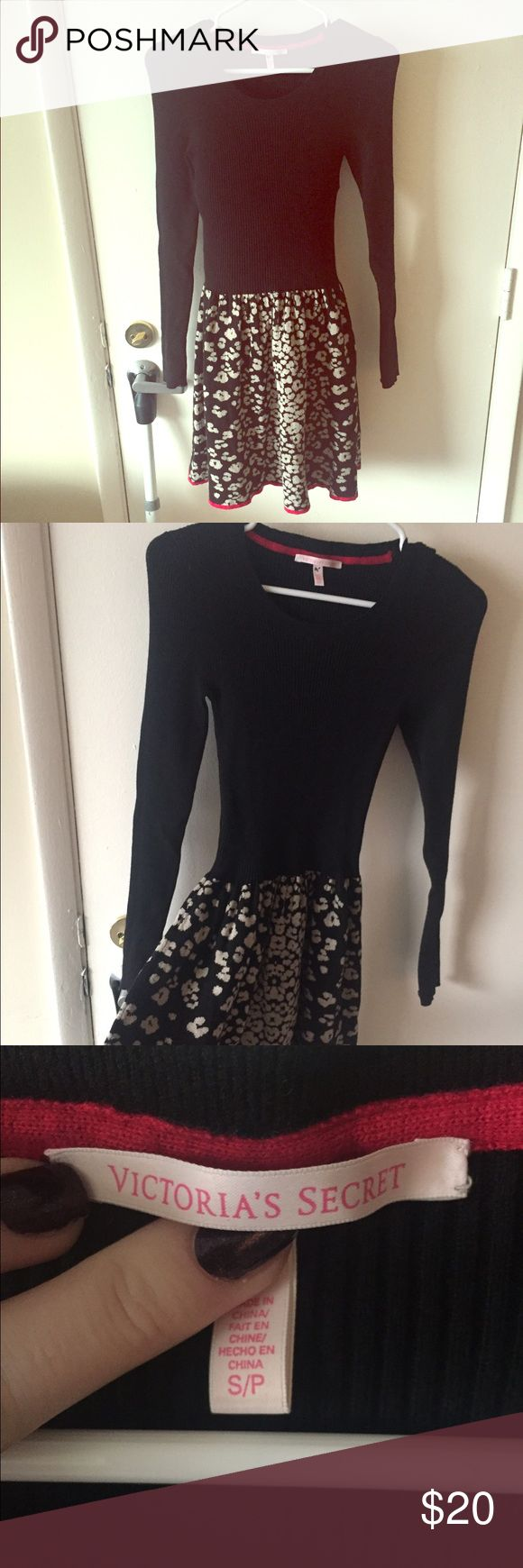 Victoria's Secret Black Whit Leopard Sweater Dress Size small. Perfect condition! Sweater dress. Nonsmoking home. From Victoria's Secret 😍😍 for a true angel! PINK Victoria's Secret Dresses