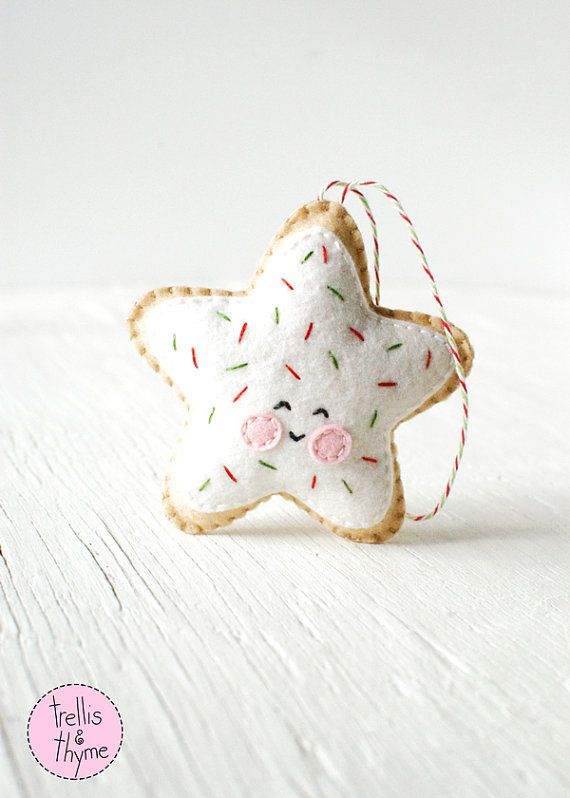 This listing is for an instant-download PDF-PATTERN. It is not a finished toy. Whats sweeter than a frosted sugar cookie with sprinkles? This darling felt ornament is stitched entirely by hand, and is the perfect pattern for beginners. Finished ornament is approximately 3.75 inches tall. Skills required: - Basic embroidery skills - Blanket stitch - Back stitch - Stem stitch - Applique stitch This PDF pattern includes: - Materials list - Charming step by step instructions featuring orig...