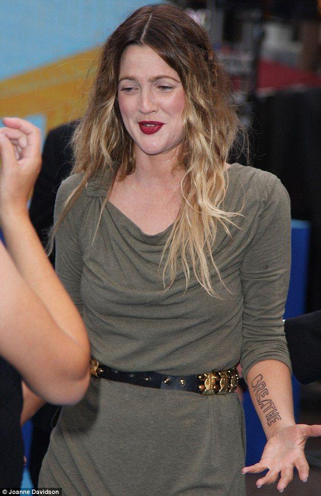 Drew Barrymore Arm Tattoo X