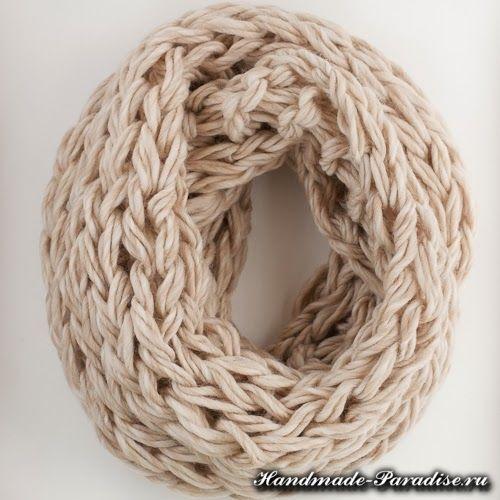 Вязание руками объемного шарфа (1)