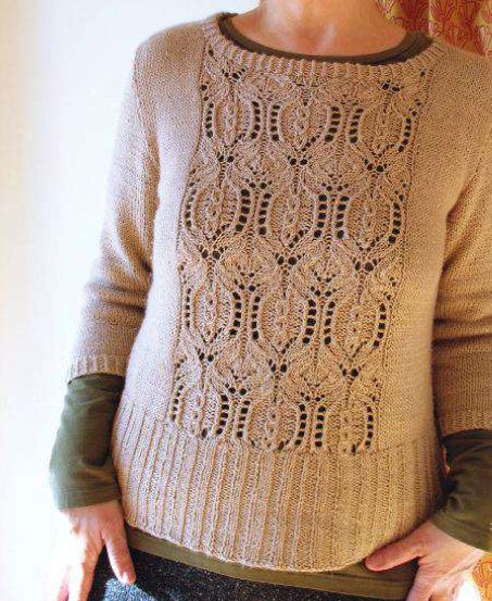 lace pullovers\lace panel pullover] photo and charts only