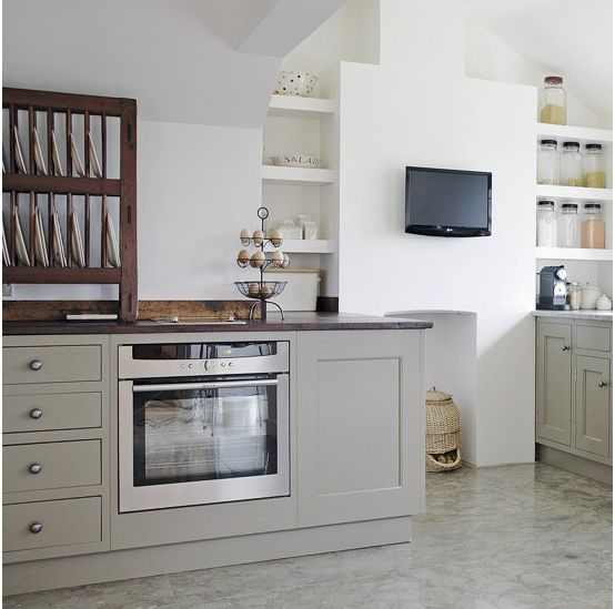 This soft stone colour is Mouse's Back from Farrow & Ball