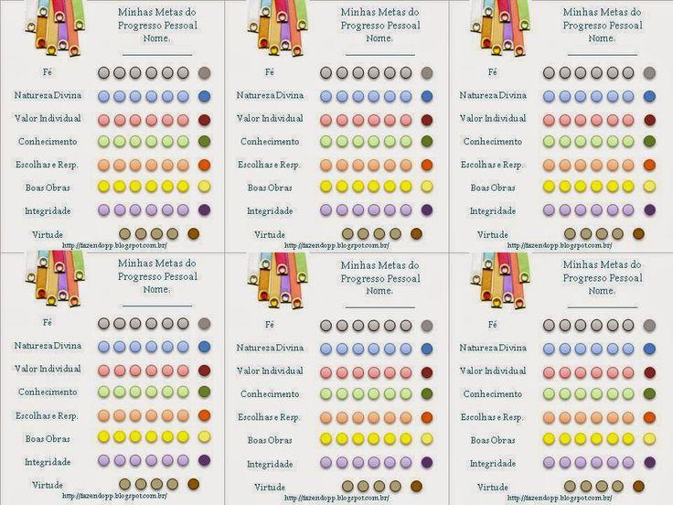 .            Fazendo meu Progresso Pessoal: Tabela de Metas do Progresso Pessoal