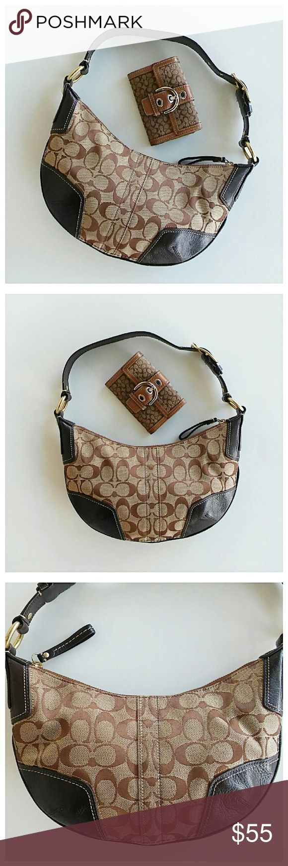 """Coach Hobo Bag & Wallet Bundle Two authentic Coach pieces, both in excellent condition. The only obvious flaw on the bag is stuck gum on the inside lining as shown in pic #6. Bag measures: 7"""" x 12"""" + 8"""" strap drop Wallet measures: 4.5"""" x 3"""" 💥 Reasonable offers accepted 💥 Coach Bags Hobos"""