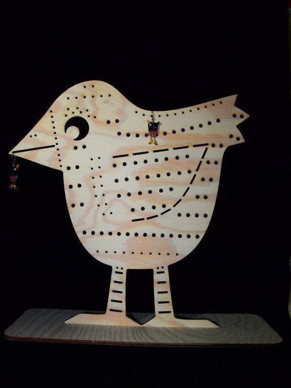 Jewelry holder Bird wooden Jewelry stand an by CinkyLinky on Etsy