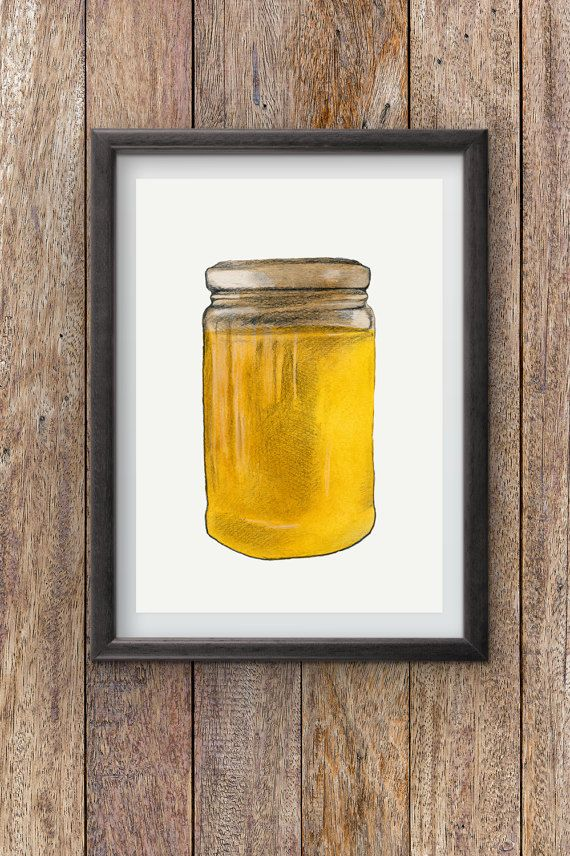 Honey Jar  Watercolor painting  instant digital by Penfood on Etsy