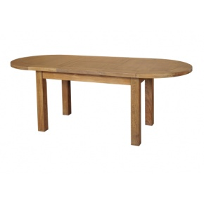 Rustic Solid Oak SRDT02 D-End Extendable Dining Table 1615mm  www.easyfurn.co.uk