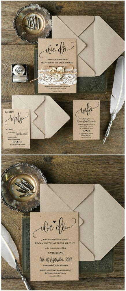 We do <3 calligraphy lace wedding invitation #wedding #rustic #eco #kraft #calligraphy #weddingideas #romantic #lace