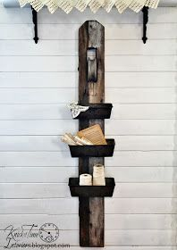 Repurposed Antique Barn Pulley and Bread Tins Wall Bins via Knick of Time