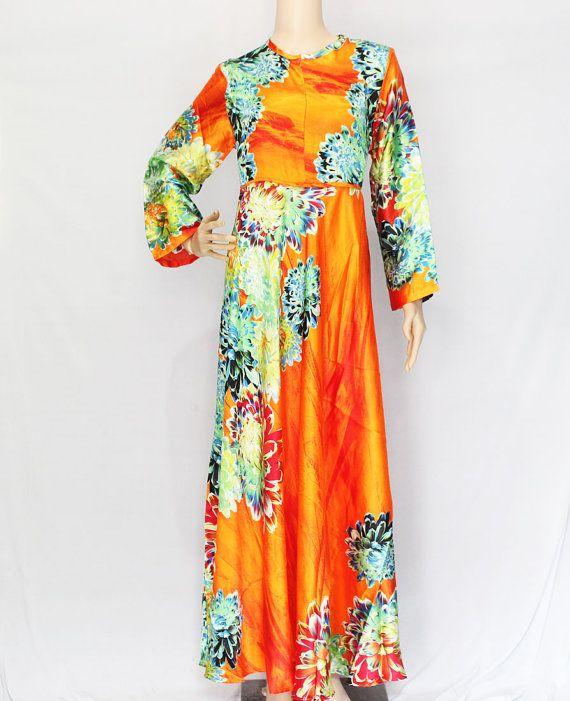 Orange Sateen bescheiden Abaya Maxi Kleid Floral von XaviFashion