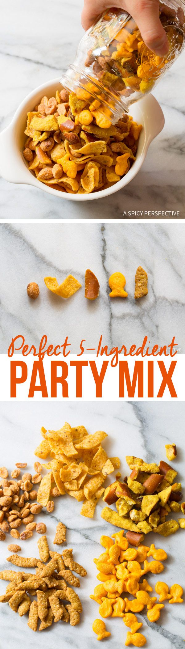 Easiest Party Snack Ever! Perfect 5-Ingredient Party Mix Recipe on ASpicyPerspective.com