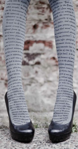 Create a fun & stylish Look with these Love Text Print Tights Grey & Black #TrendyLegs