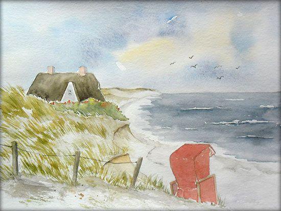 Urlaub an der Nordsee - Aquarell - 24 x 32 cm - Original