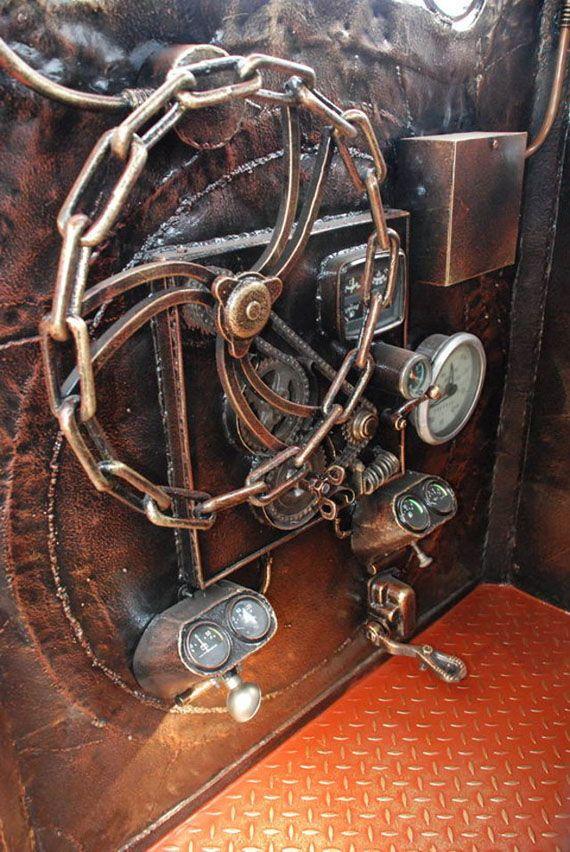 Le volant qui commande le tourne-broche dans la locomotive-barbecue
