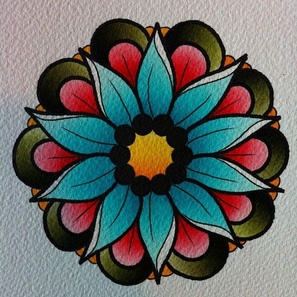 Neo Traditional Tattoo Flash Flower Jerusalem House