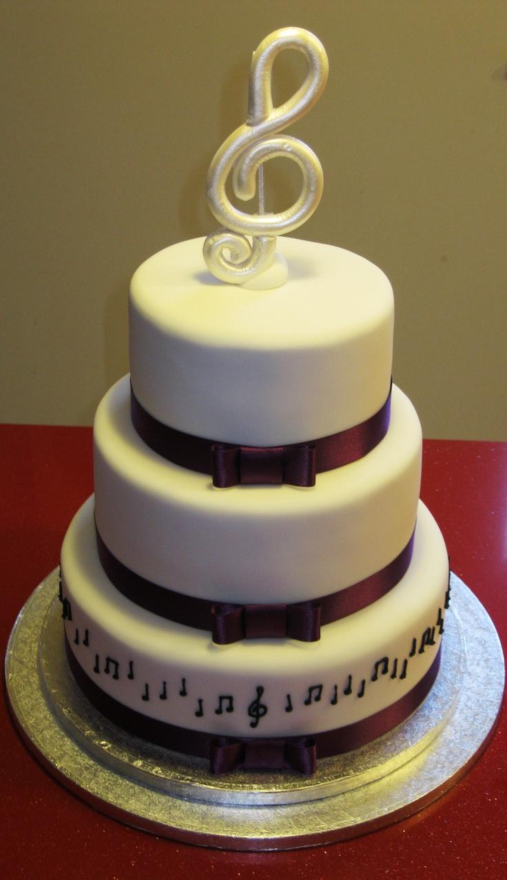 White And Purple Musical Wedding Cake