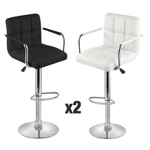Faux Leather Breakfast Bar Stools 2 Pc Swivel Chair Adjustable Height Gas Lift  #Unbranded #Modern